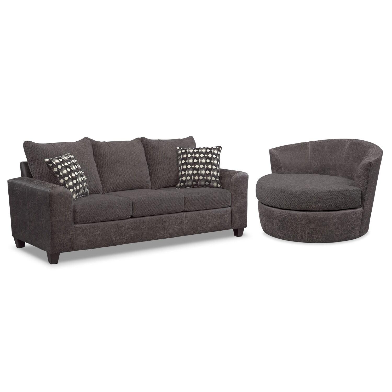 swivel chair sofa set red barber brando and smoke value city