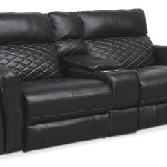 Black Reclining Sofa With Console Furniture Village Sofas Ireland Catalina 3 Piece Power Value City Living Room