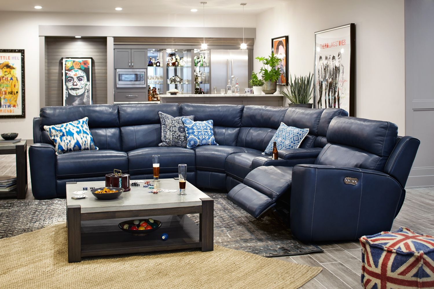 Newport 6Piece Power Reclining Sectional with 3 Reclining