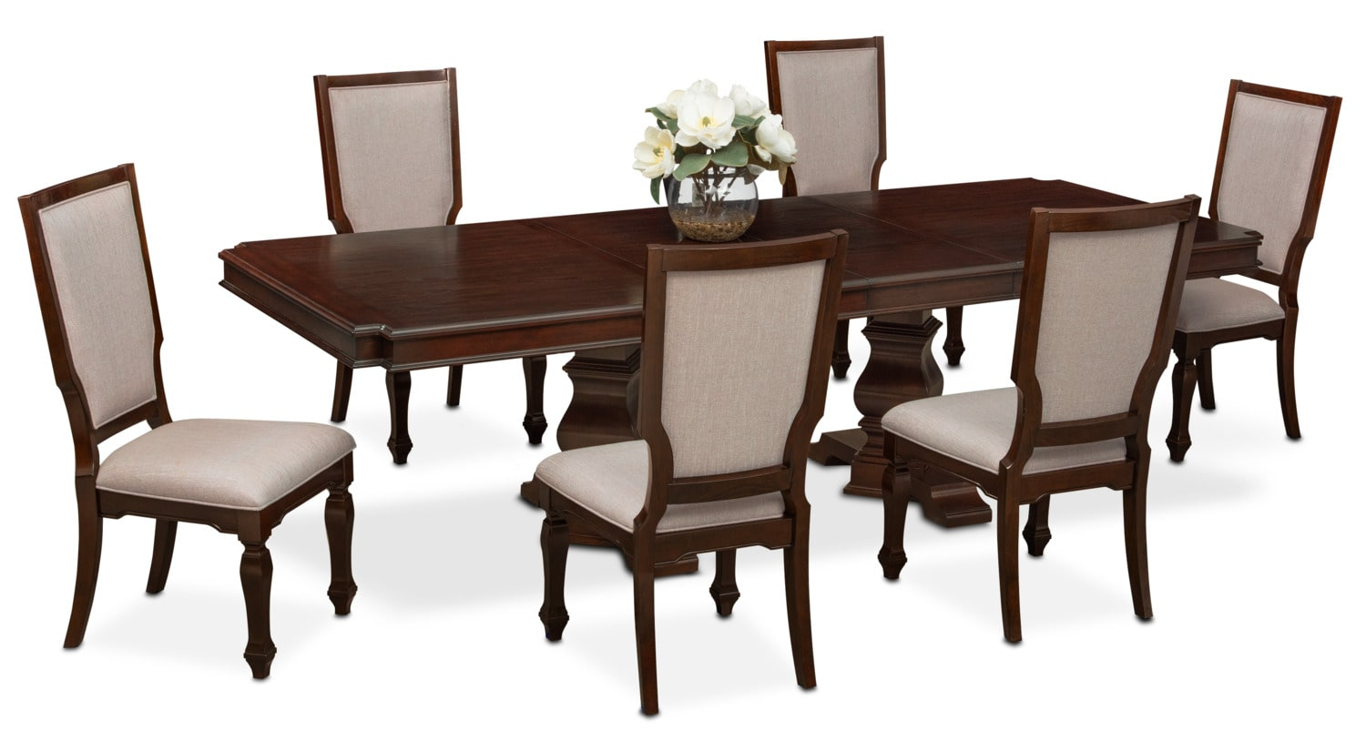 Dining Side Chairs Vienna Dining Table And 6 Upholstered Side Chairs Merlot