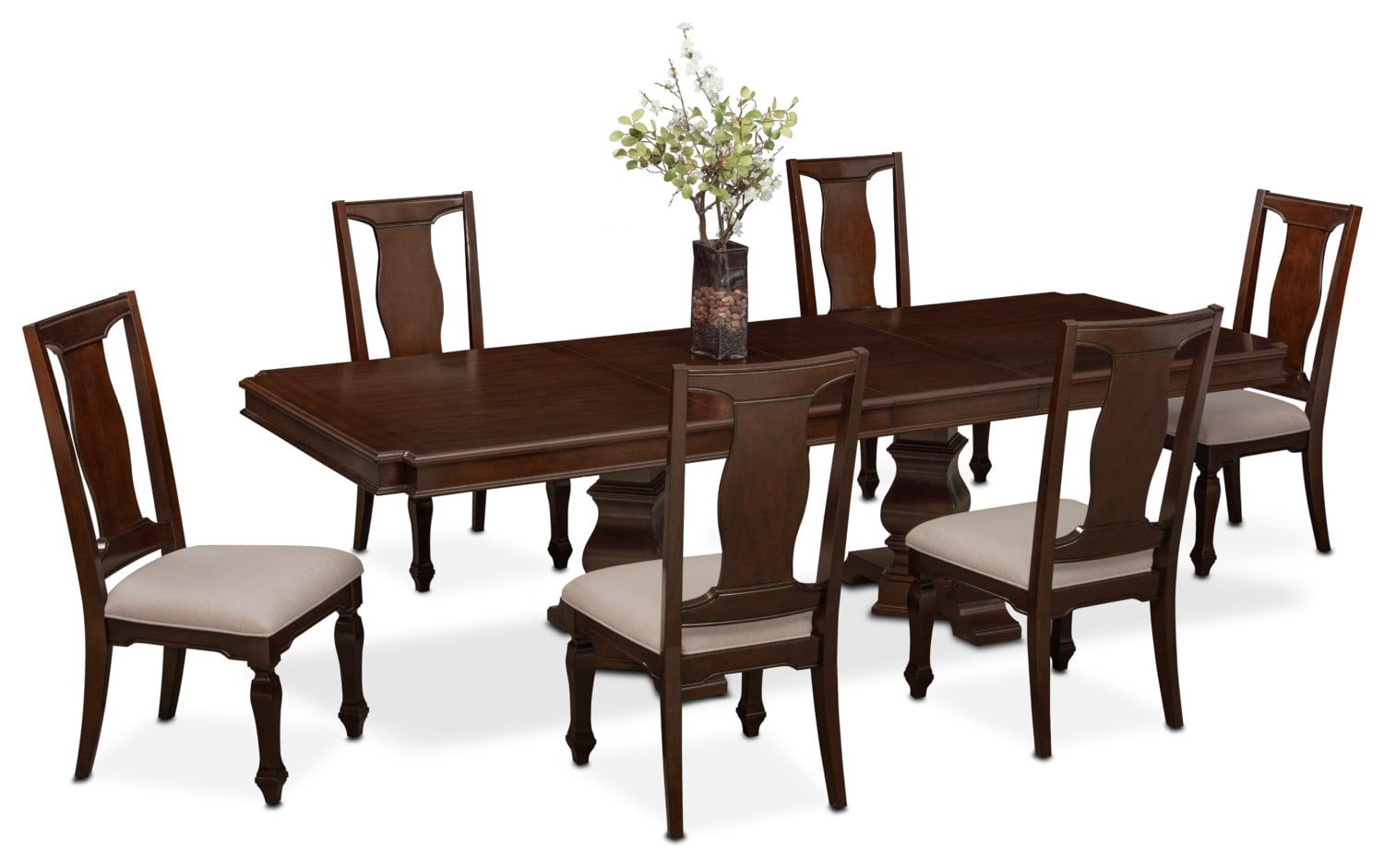 dining room sets 6 chairs all weather india shop 7 piece value city tap to change vienna table and side merlot