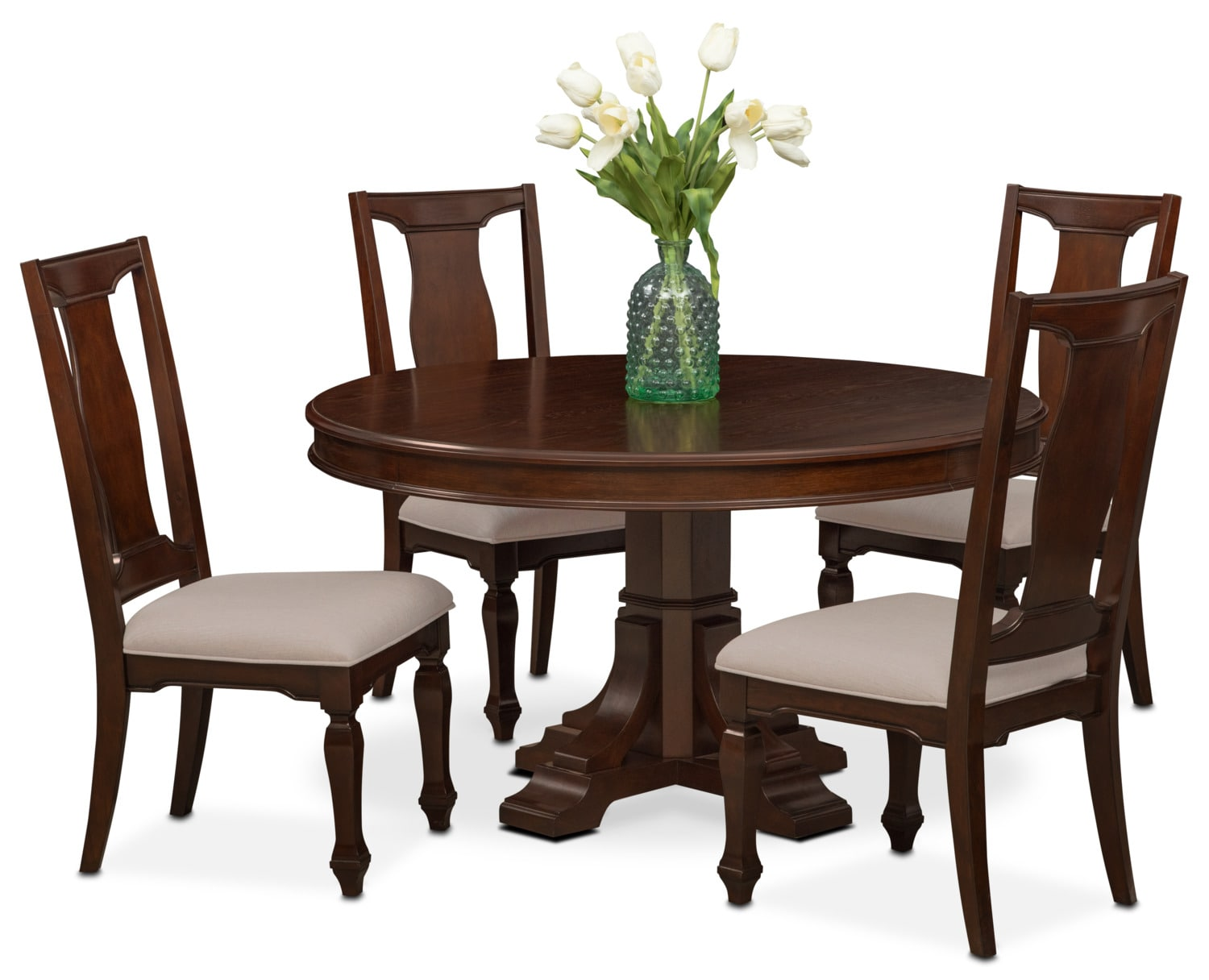 Value City Chairs Vienna Round Dining Table And 4 Side Chairs Merlot
