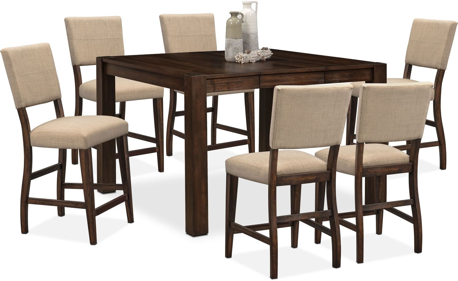 upholstered counter height chairs dining chair tribeca table and 6 side