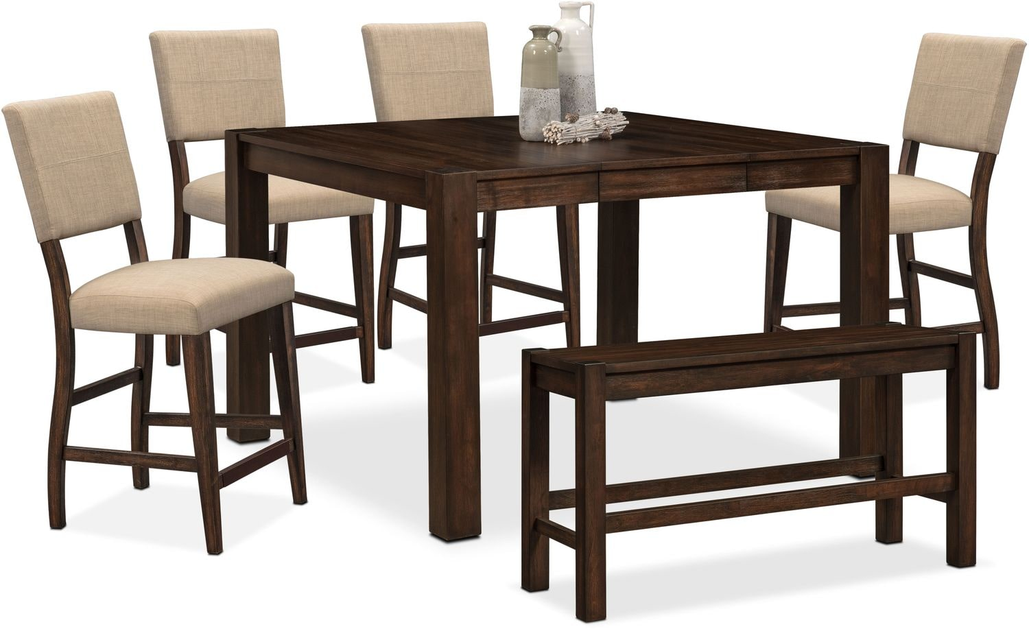 Dining Table With Bench And Chairs Tribeca Counter Height Table 4 Upholstered Side Chairs