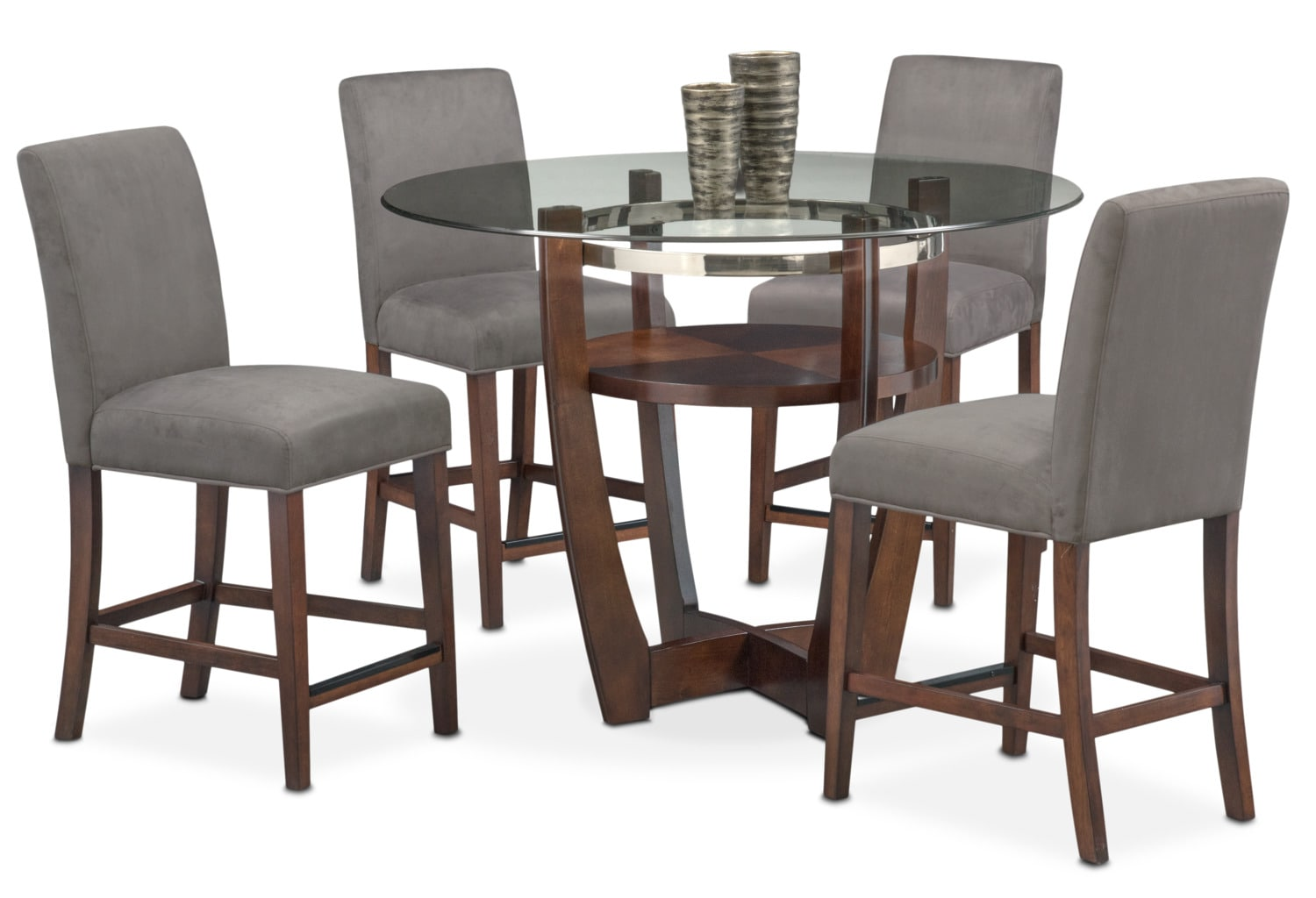 gray side chair chairs for tall man alcove counter height table and 4 value city click to change image