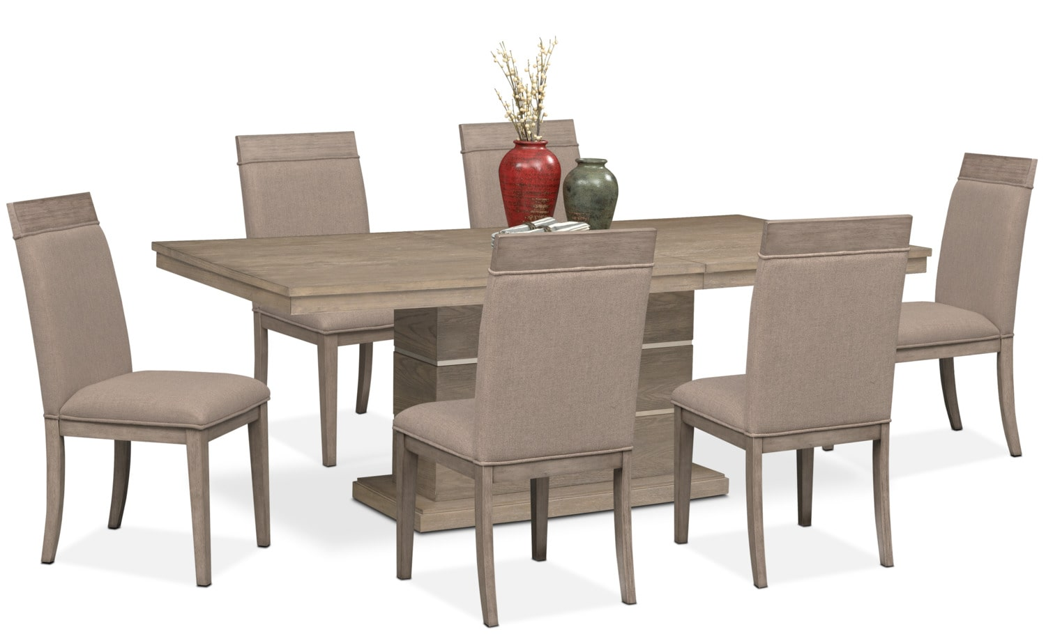pedestal table and chairs small dining gavin 6 side graystone value