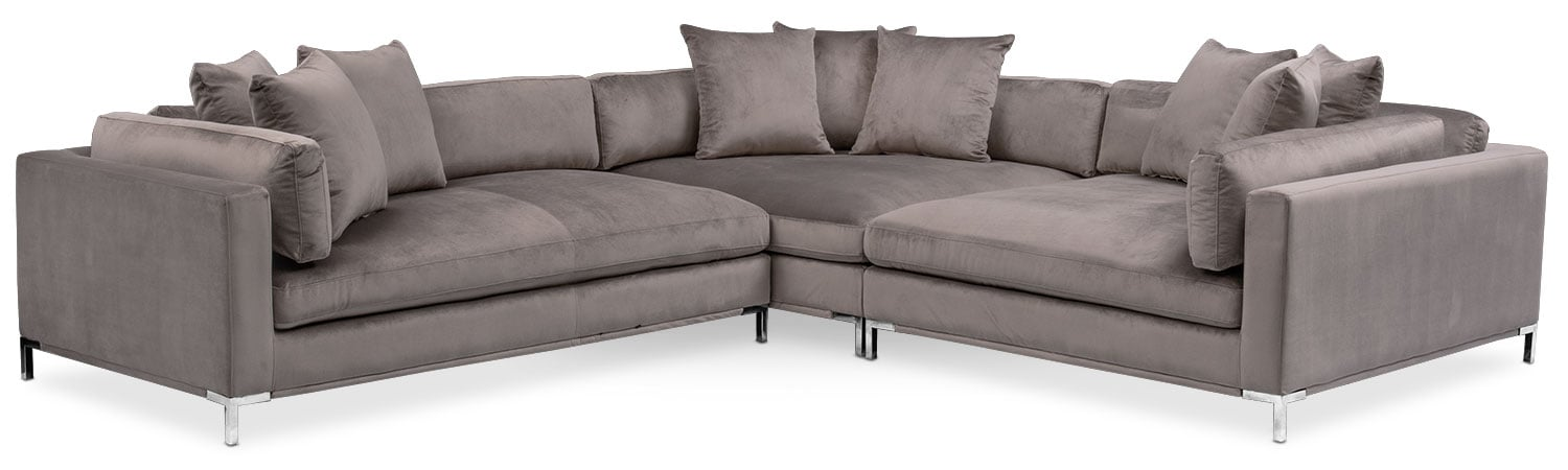city furniture naples living room kitchen color ideas moda 3 piece sectional with chaise value and mattresses