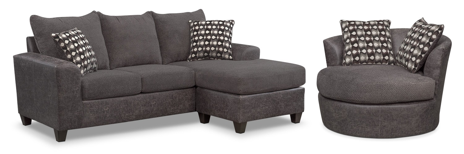 swivel chair sofa set phil and ted lobster recall brando with chaise smoke value city living room furniture