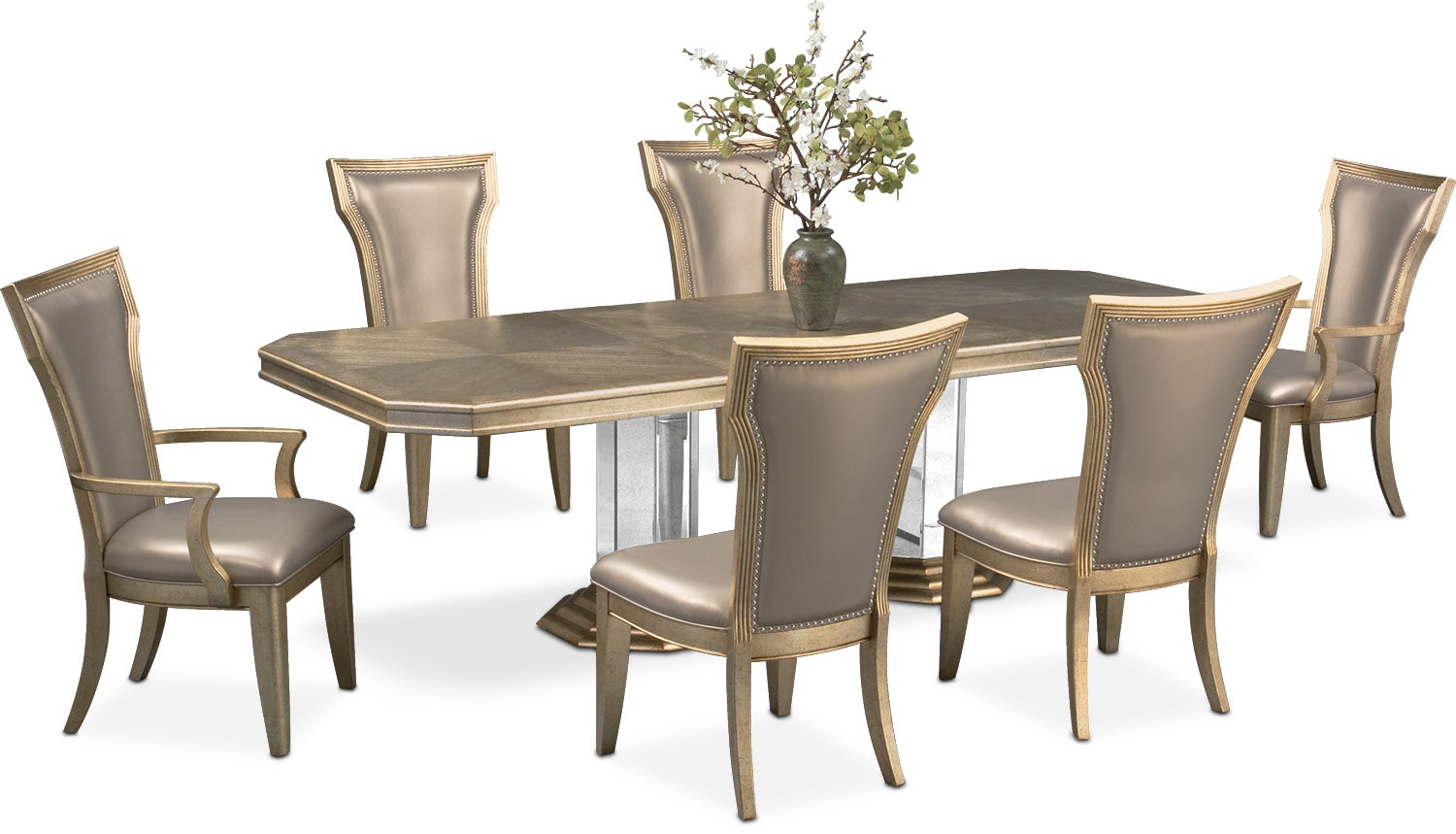 Table With Two Chairs Angelina Double Pedestal Table Two Arm Chairs And 4 Side Chairs Metallic