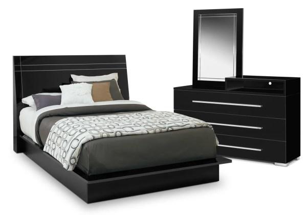 black queen panel bedroom set Dimora 5-Piece Queen Panel Bedroom Set with Media Dresser - Black   Value City Furniture and
