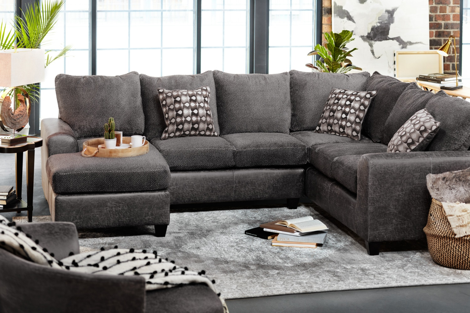 Brando 3Piece Sectional with Modular Chaise  Smoke  Value City Furniture and Mattresses