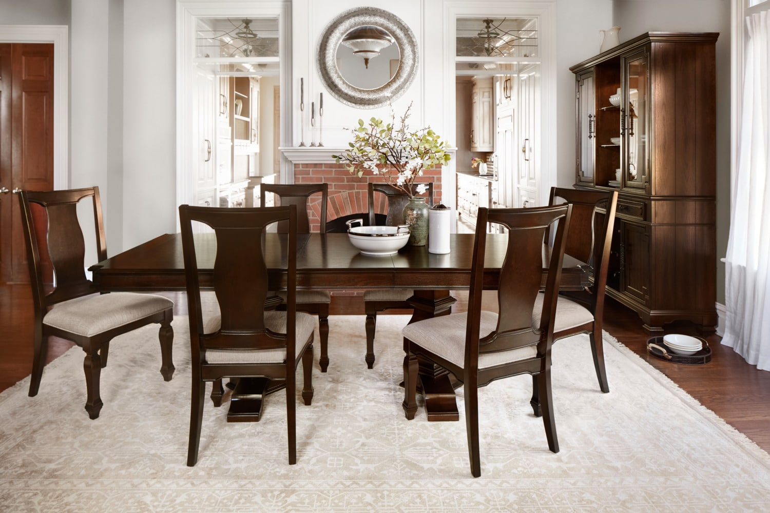 table and chairs with bench bed bath beyond dining room dinettes value city vienna 6 side merlot