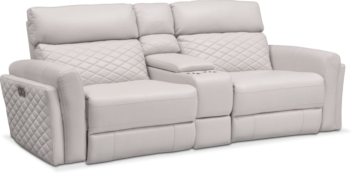 black reclining sofa with console kirby bed reviews catalina 3 piece power value city click to change image