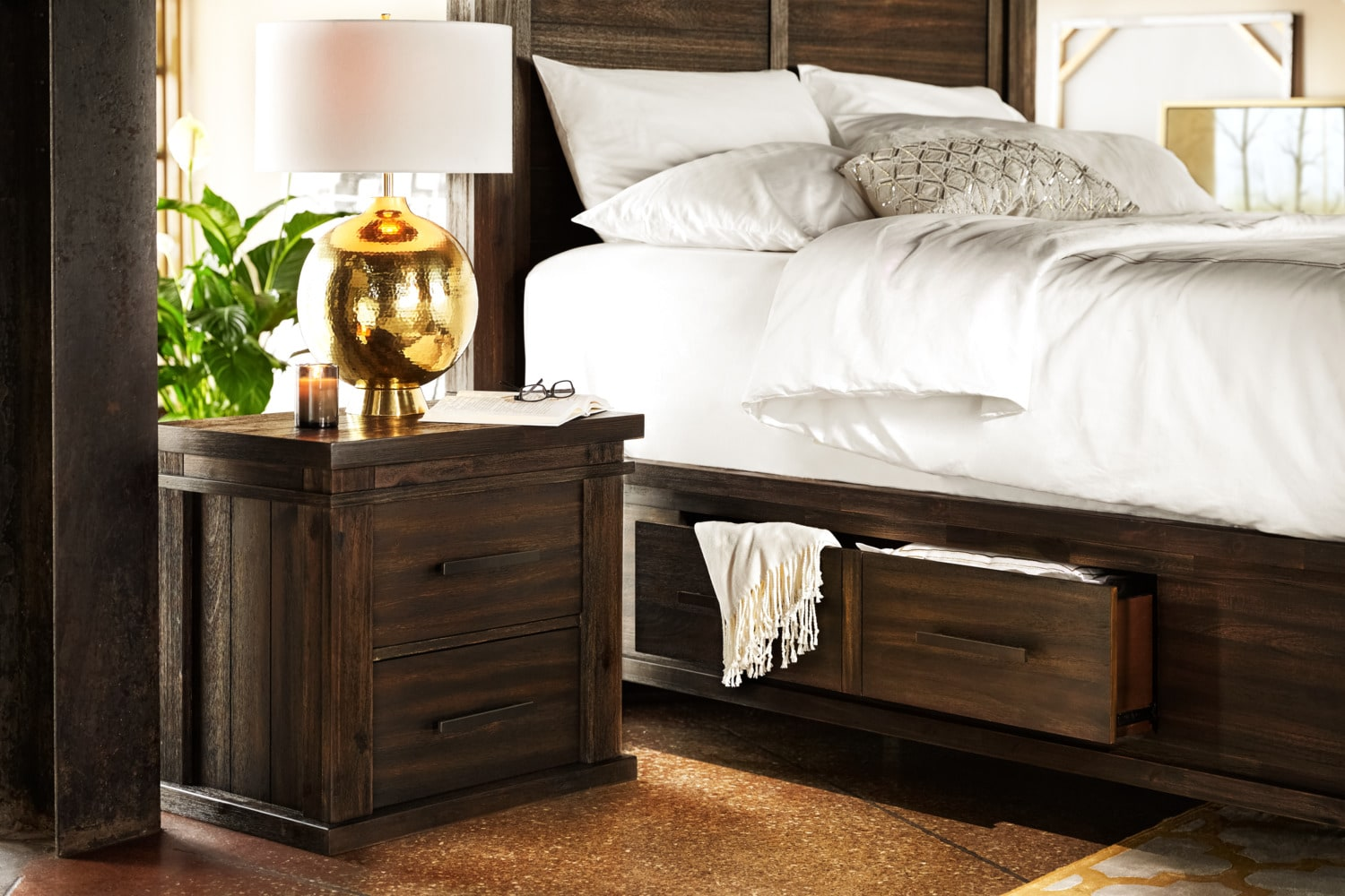 Tribeca King Storage Bed w 4 Underbed Drawers  Tobacco  Value City Furniture and Mattresses