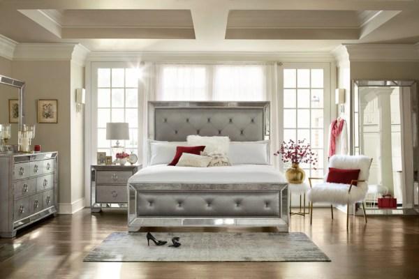 Angelina Queen Upholstered Bed - Metallic City