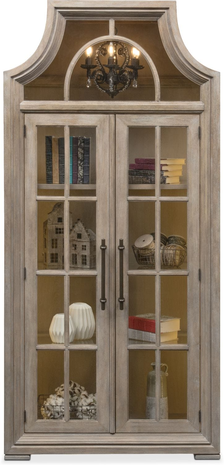 Lancaster Display Cabinet with Hutch  Parchment  Value