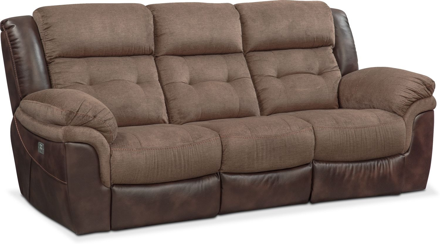Tacoma Dual Power Reclining Sofa Brown Value City