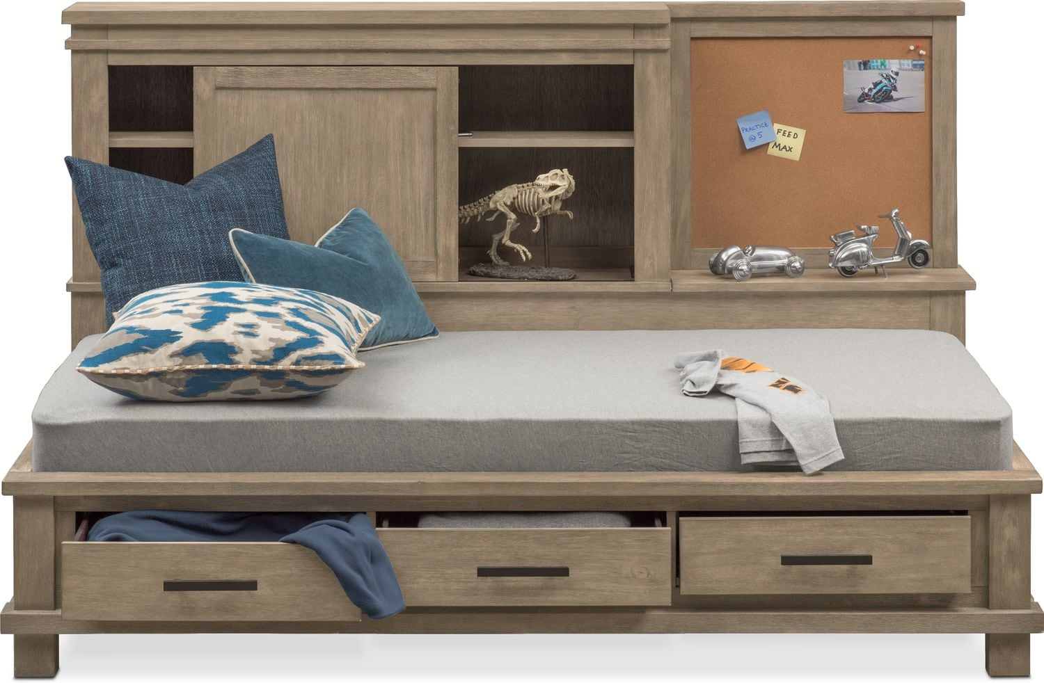 Tribeca Youth Twin Lounge Bed with Storage  Gray  Value
