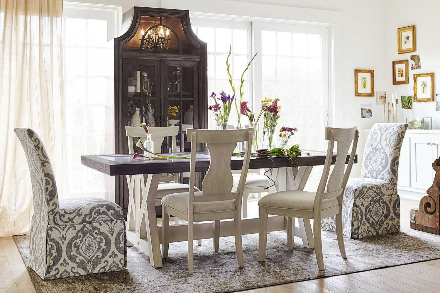 farmhouse living room chairs walnut black gloss furniture the lancaster dining collection value city and