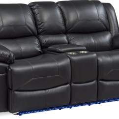 Black Reclining Sofa With Console Sleeper Craigslist Chicago Monza Dual Power Loveseat Value Living Room Furniture