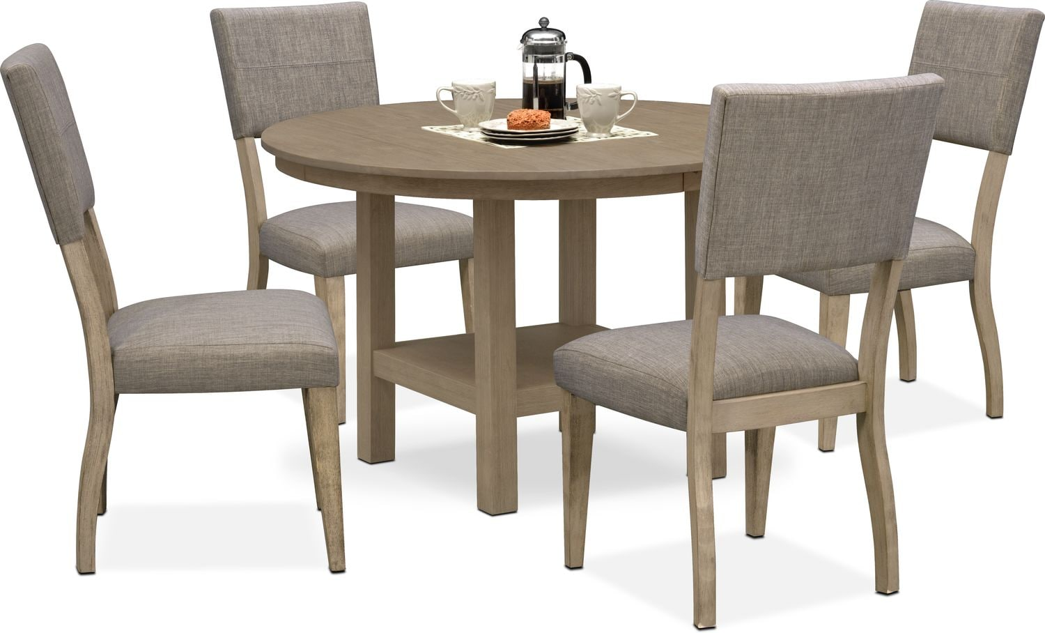 Dining Room Upholstered Chairs Tribeca Round Dining Table And 4 Upholstered Side Chairs