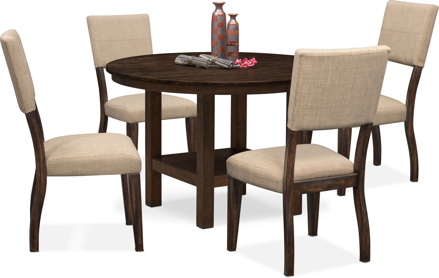 value city dining table and chairs space saving kitchen tribeca round 4 upholstered side