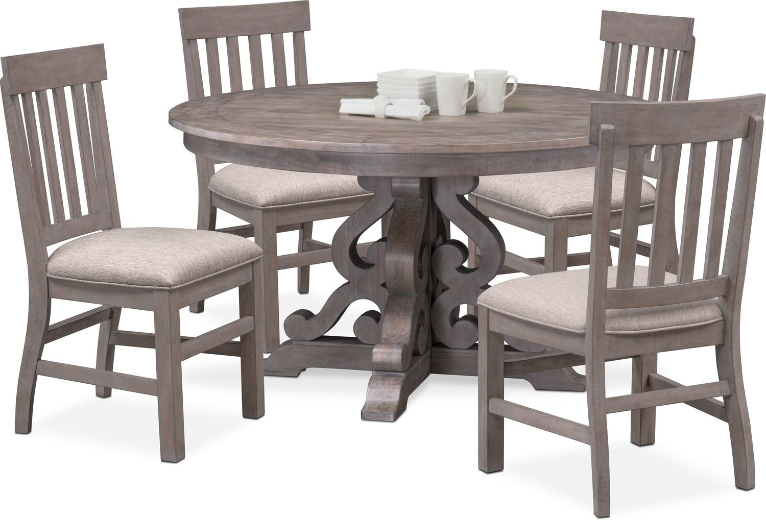 Gray Dining Room Chairs Charthouse Round Dining Table And 4 Side Chairs Gray