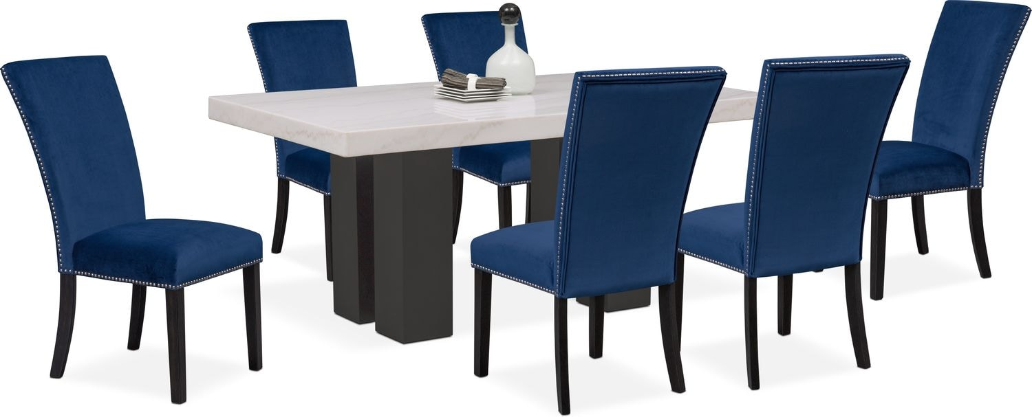 Cobalt Blue Chair Artemis 7 Piece Dining Room