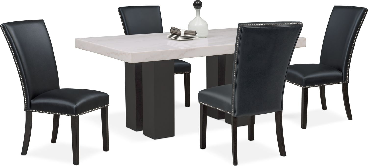 Black Dining Room Table And Chairs Artemis Dining Table And 4 Upholstered Side Chairs