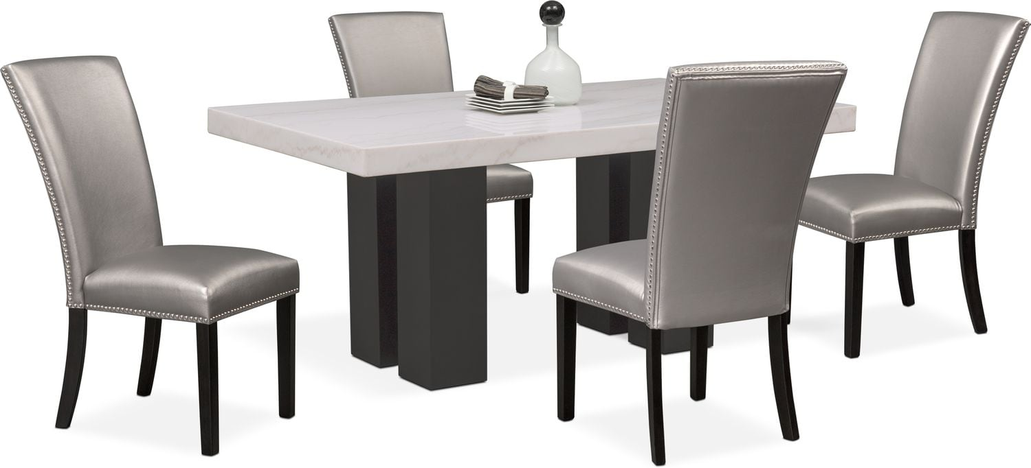 value city dining table and chairs ps4 chair artemis 4 upholstered side gray room furniture