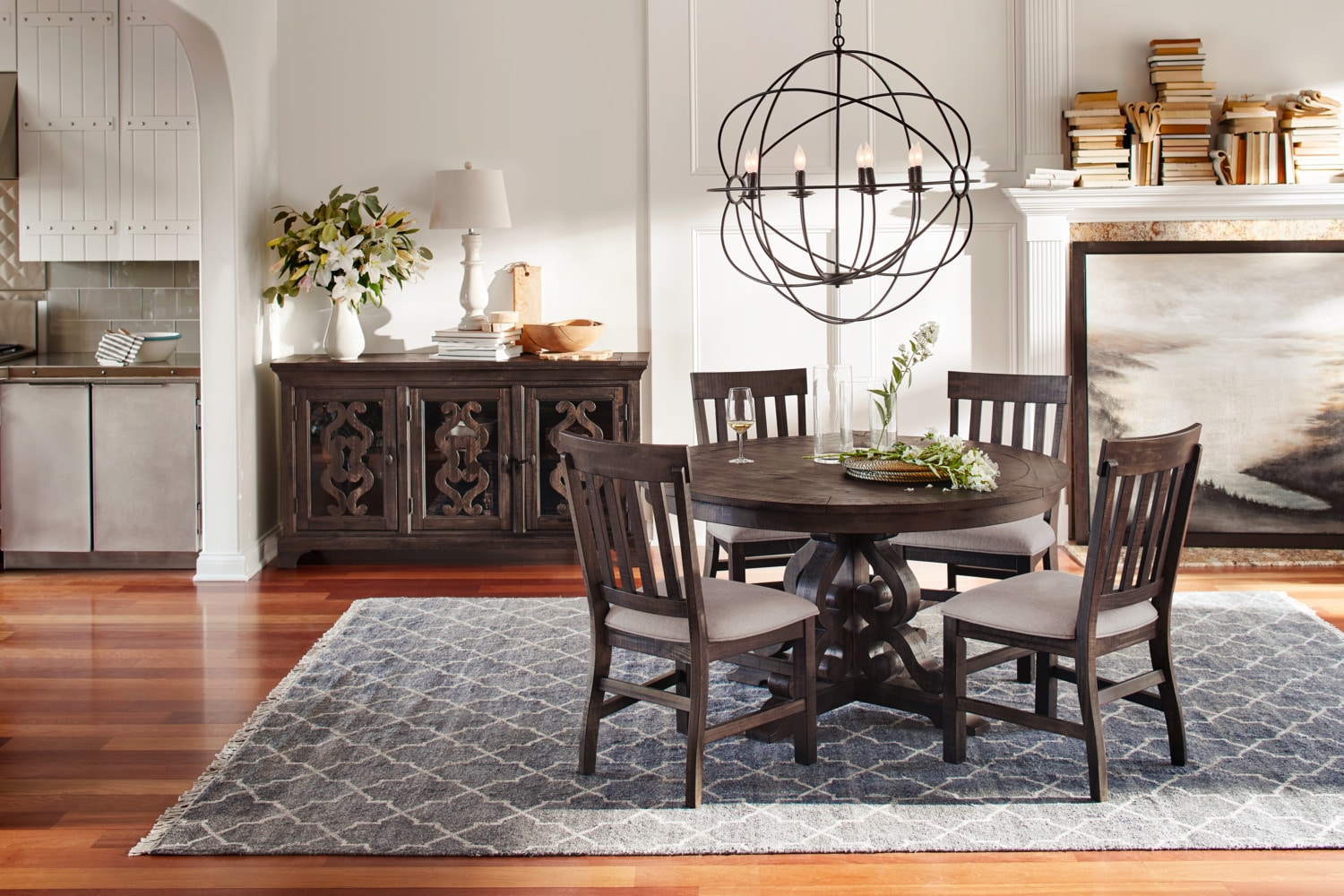 value city dining table and chairs three legged chair antique charthouse round 4 side - charcoal | furniture mattresses
