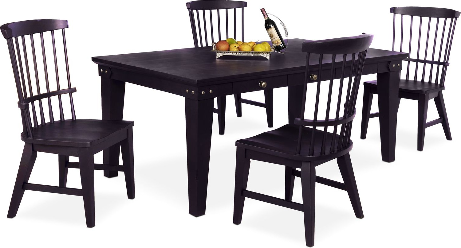 Windsor Chairs Black New Haven Dining Table And 4 Windsor Side Chairs
