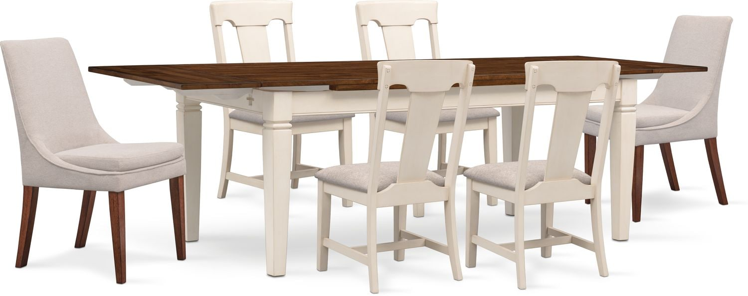 Dining Room Upholstered Chairs Adler Dining Table 4 Side Chairs And 2 Upholstered Side Chairs