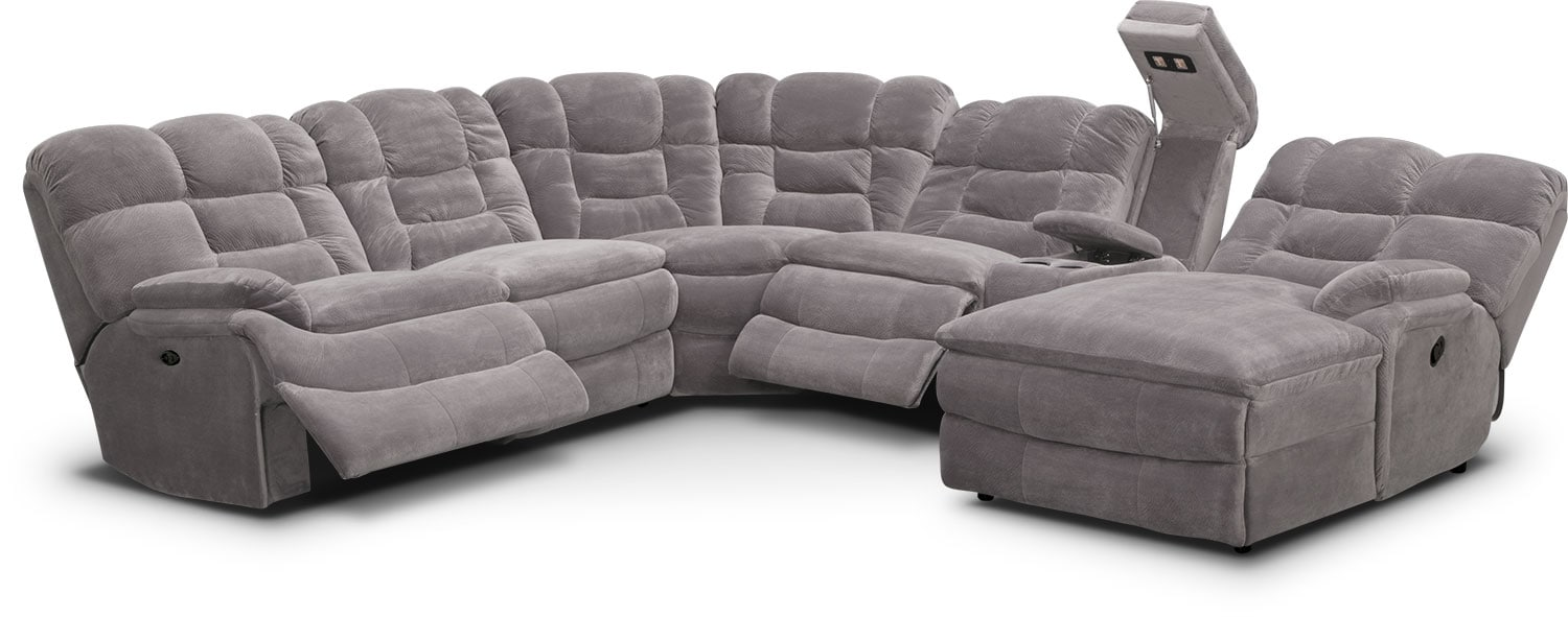 recliner bed chair rosette covers big softie 6 piece power reclining sectional with chaise value click to change image