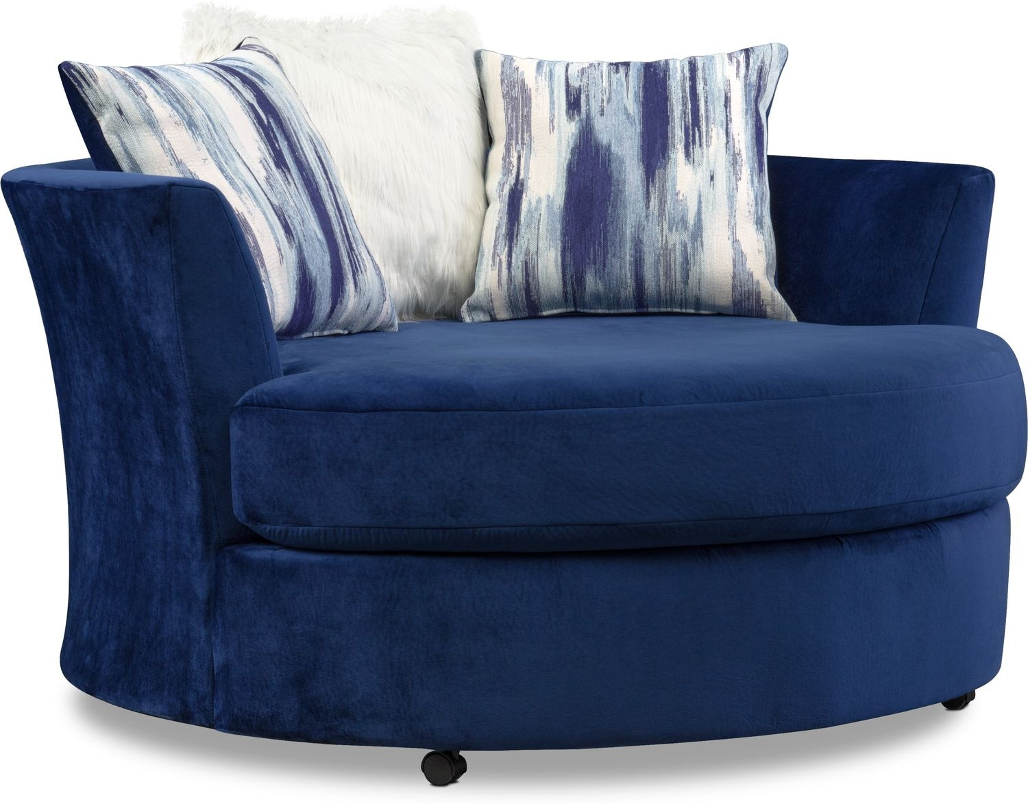 Blue Swivel Chair Cordelle 3 Piece Sectional And Swivel Chair Set Blue