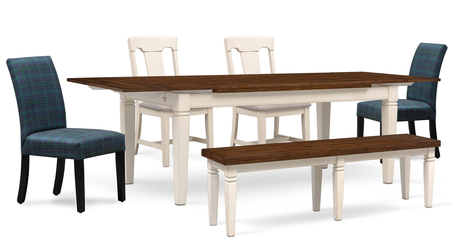 Table With 2 Chairs Adler Dining Table 2 Side Chairs 2 Upholstered Side Chairs And Bench White And Plaid
