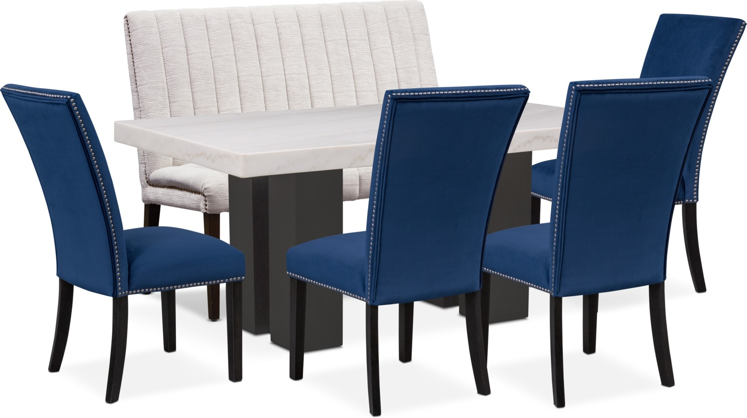 value city dining table and chairs diamond chair replica shop room furniture tap to change artemis 4 upholstered side bench blue oyster