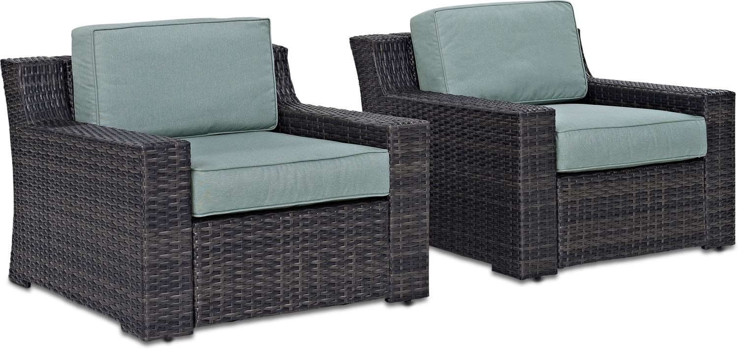 Outdoor Chair Set Tethys Set Of 2 Outdoor Chairs Mist