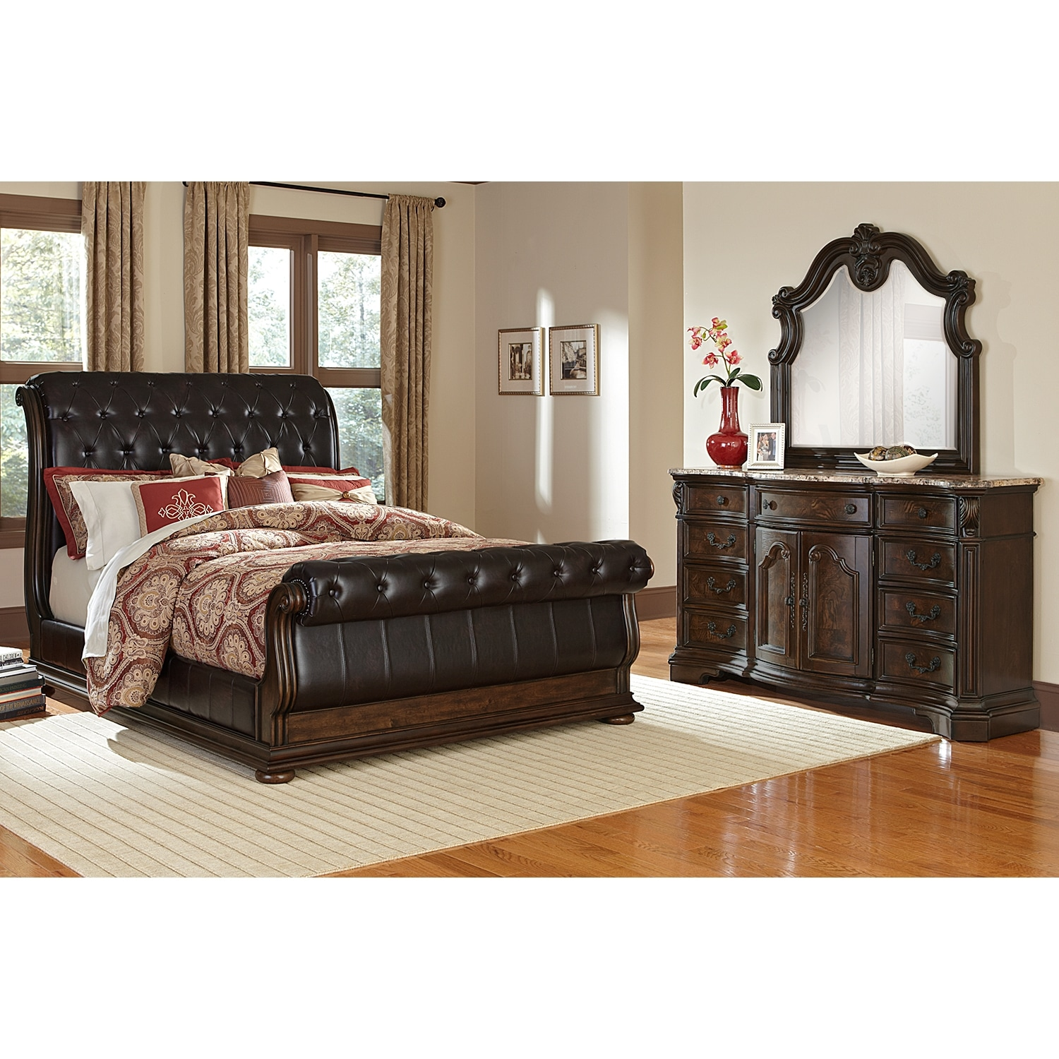 Monticello 5 Piece Upholstered Sleigh Bedroom Set With Dresser And Mirror Value City Furniture And Mattresses