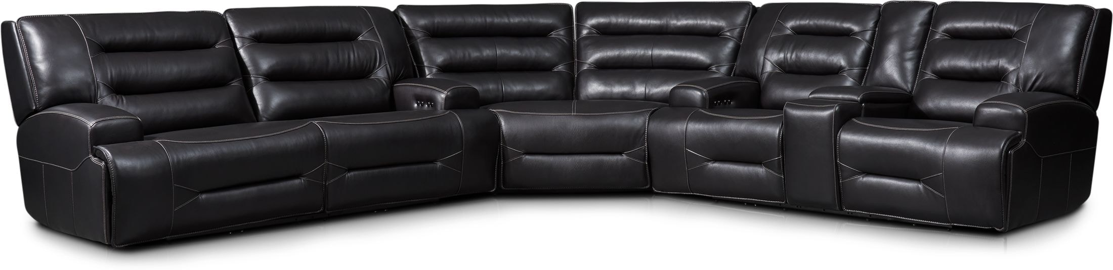 preston 3 piece dual power reclining sectional with 4 reclining seats black