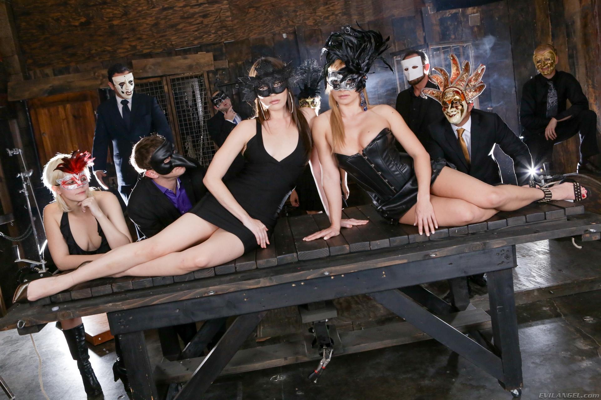 Two hot babe in Venetian masks posing naked to  XXXonXXX