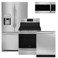 Kitchen Refrigerator Island With Cabinets Appliance Packages 4 Piece Sets Warners Stellian Frigidaire Gallery Pc Pkg 217607 E 21 7 Cu Ft Counter Depth Electric Range Microwave Dishwasher