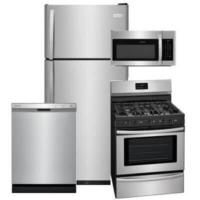 kitchen appliance suite island stools packages 4 piece sets warners stellian frigidaire pc pkg 840941 g 18 cu ft refrigerator gas range microwave dishwasher