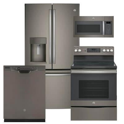 ge slate 4 pc pkg gfe28gmkes e 27 8 cu ft refrigerator electric range microwave dishwasher