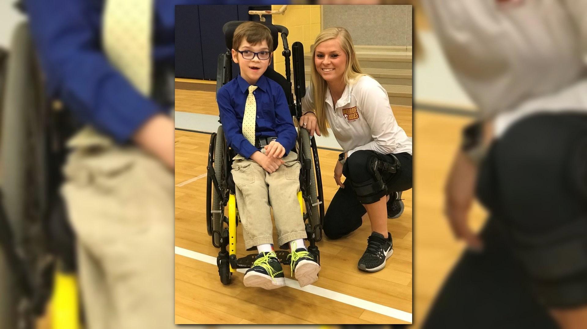 wheelchair jump rocking chair swing baby 12news watch teacher helps bound student