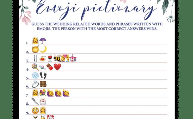 Blush Floral Bridal Shower Emoji Pictionary Game Printable
