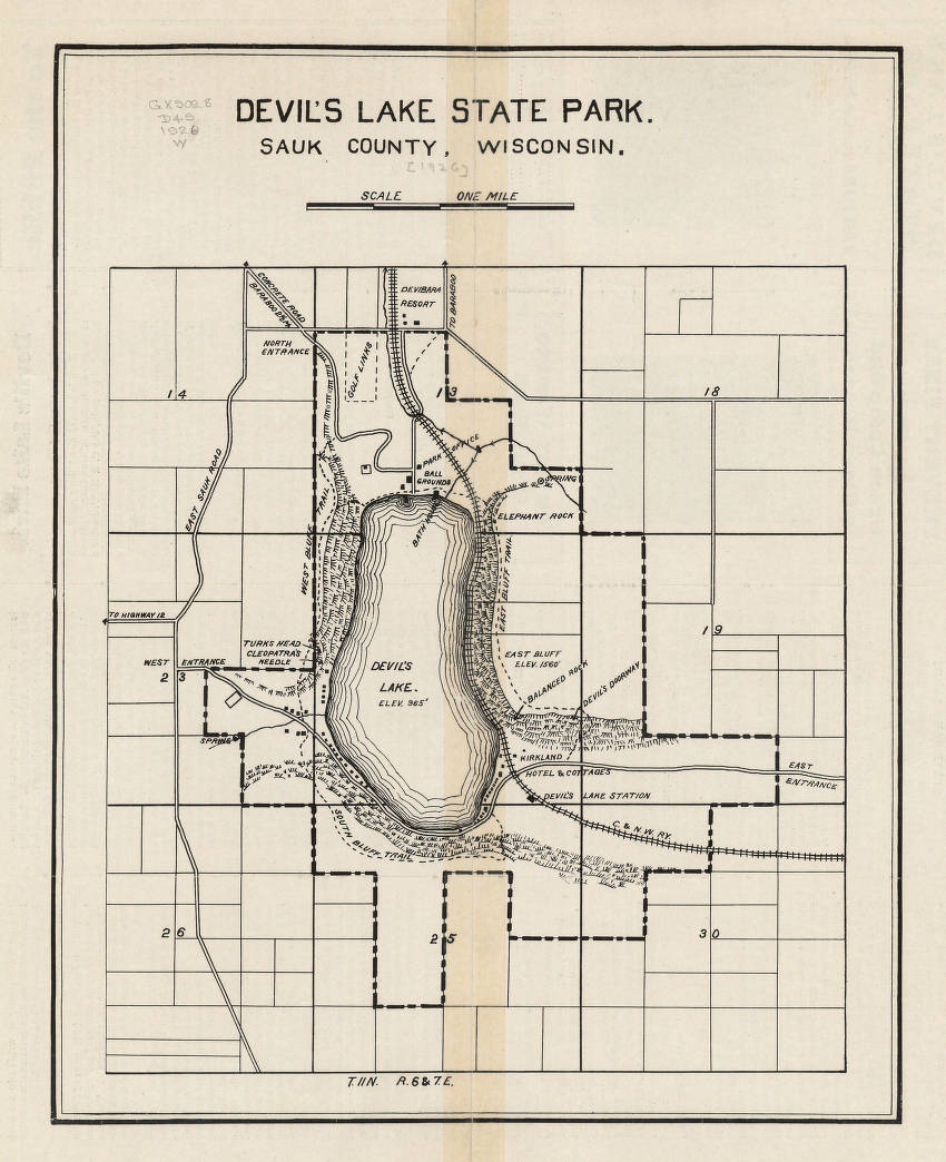 Devils Lake State Park Map : devils, state, Devil's, State, County,, Wisconsin, Atlases, Collections, Historical, Society, Online