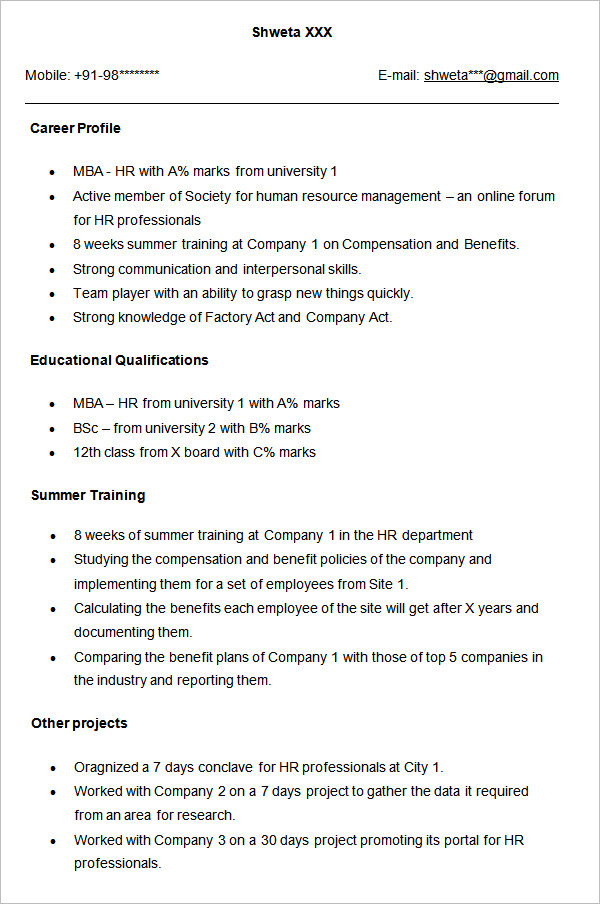 Mba Resume Resume Hr Manager Legal Admin Consultant Mba 18