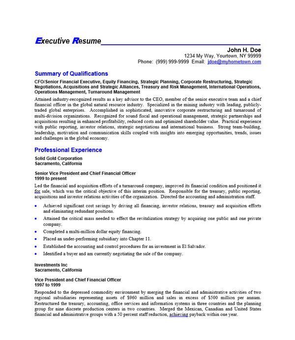ceo resume template doc