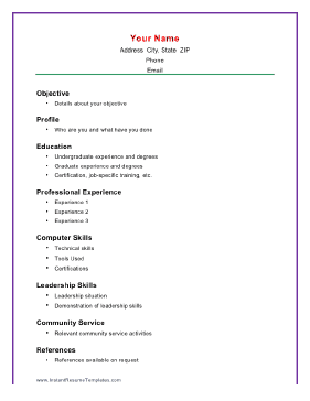 Simple Resume Formats Easy Resume Template Basic Resume Template
